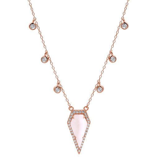 Natural Rose Quartz Necklace - Rose Gold