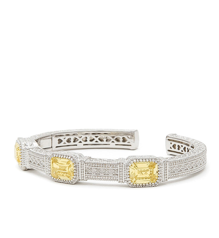 Estate Emerald Cut Canary Crystal Three Stone Cuff, , Bracelet, Judith Ripka, D'Amore Jewelers  - 1