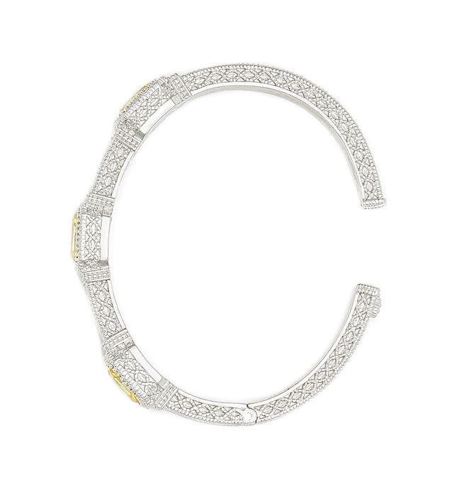 Estate Emerald Cut Canary Crystal Three Stone Cuff, , Bracelet, Judith Ripka, D'Amore Jewelers  - 3