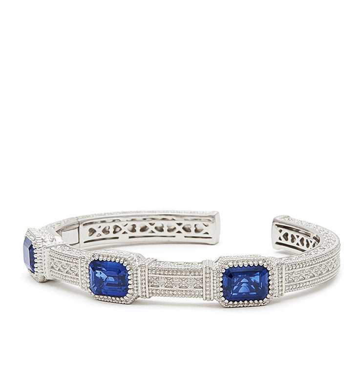 Estate Emerald Cut Blue Corundum Three Stone Cuff, , Bracelet, Judith Ripka, D'Amore Jewelers  - 1