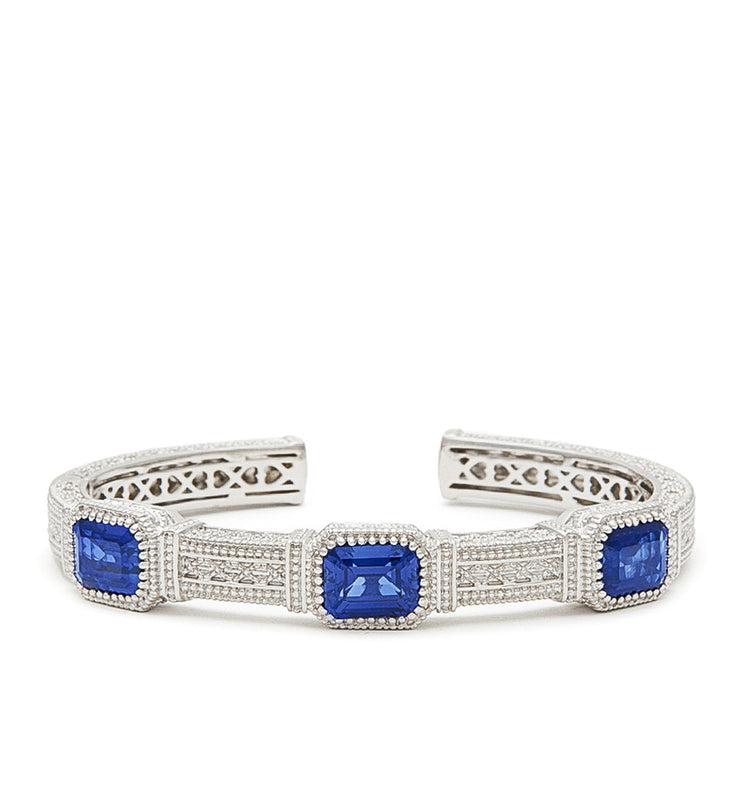 Estate Emerald Cut Blue Corundum Three Stone Cuff, , Bracelet, Judith Ripka, D'Amore Jewelers  - 2