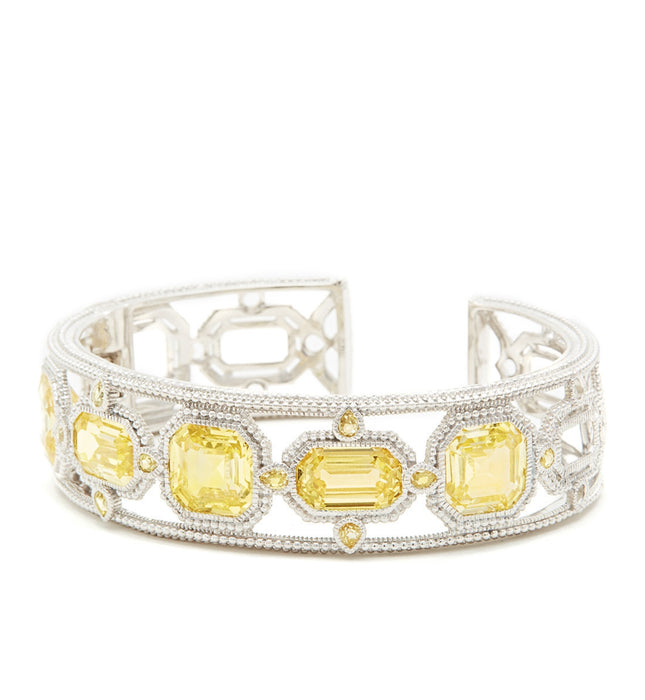 Aria Canary Crystal Multi Stone Cuff, , Bracelet, Judith Ripka, D'Amore Jewelers  - 1