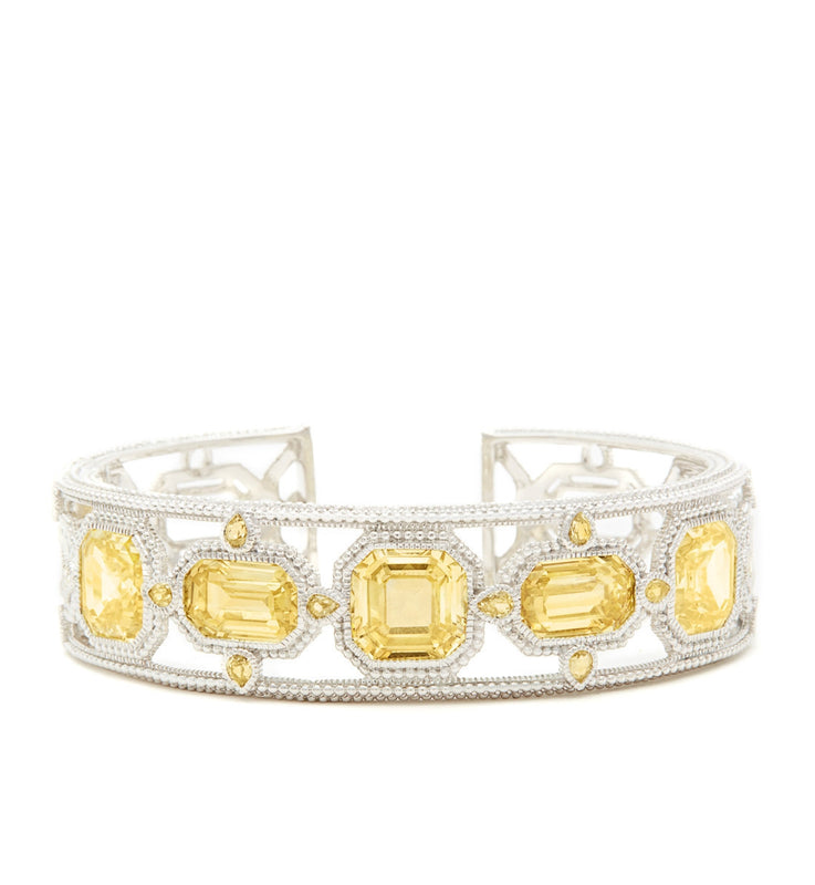 Aria Canary Crystal Multi Stone Cuff, , Bracelet, Judith Ripka, D'Amore Jewelers  - 2