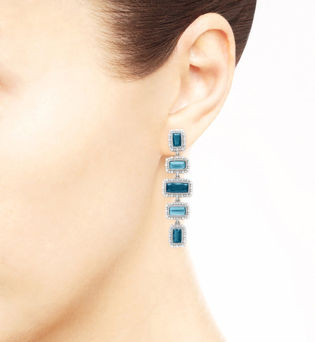 Rapture London Blue Spinel Over Mother Of Pearl Linear Earrings, , Earring, judith ripka, D'Amore Jewelers  - 3
