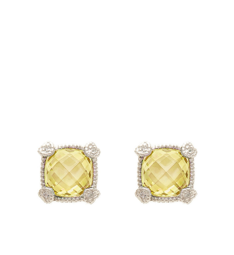 La Petite Cushion Cut Canary Crystal Stud Earrings