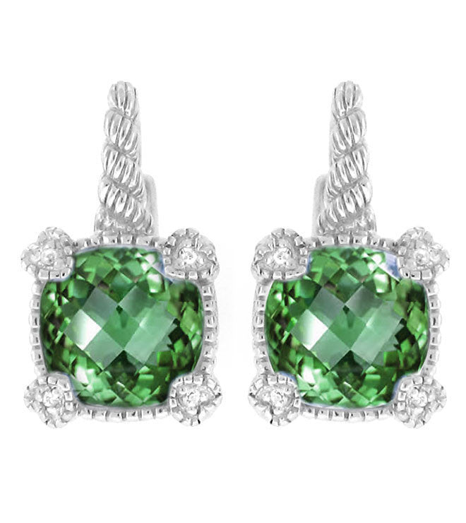 La Petite Cushion Cut Green Quartz Earrings