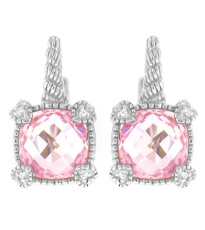 La Petite Cushion Cut Pink Quartz Crystal Earrings