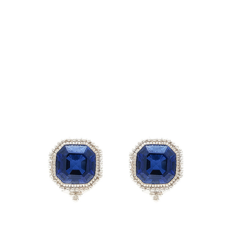Estate Ascher Cut Blue Corundum Stud Earrings