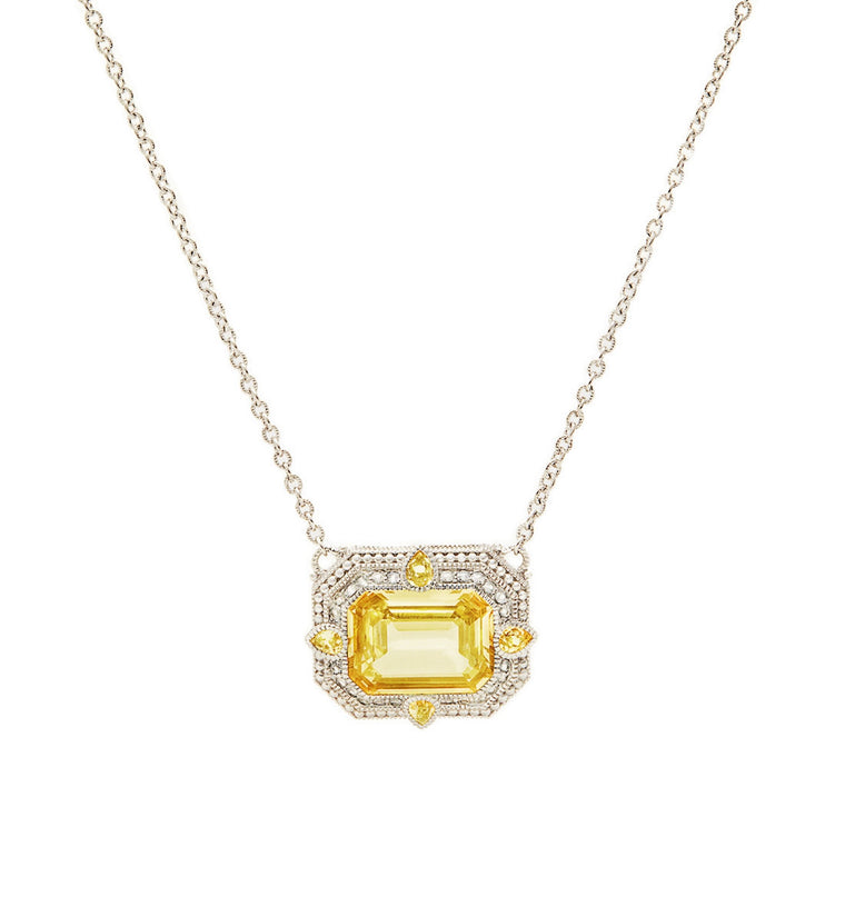Aria Canary Crystal East West Pendant Necklace