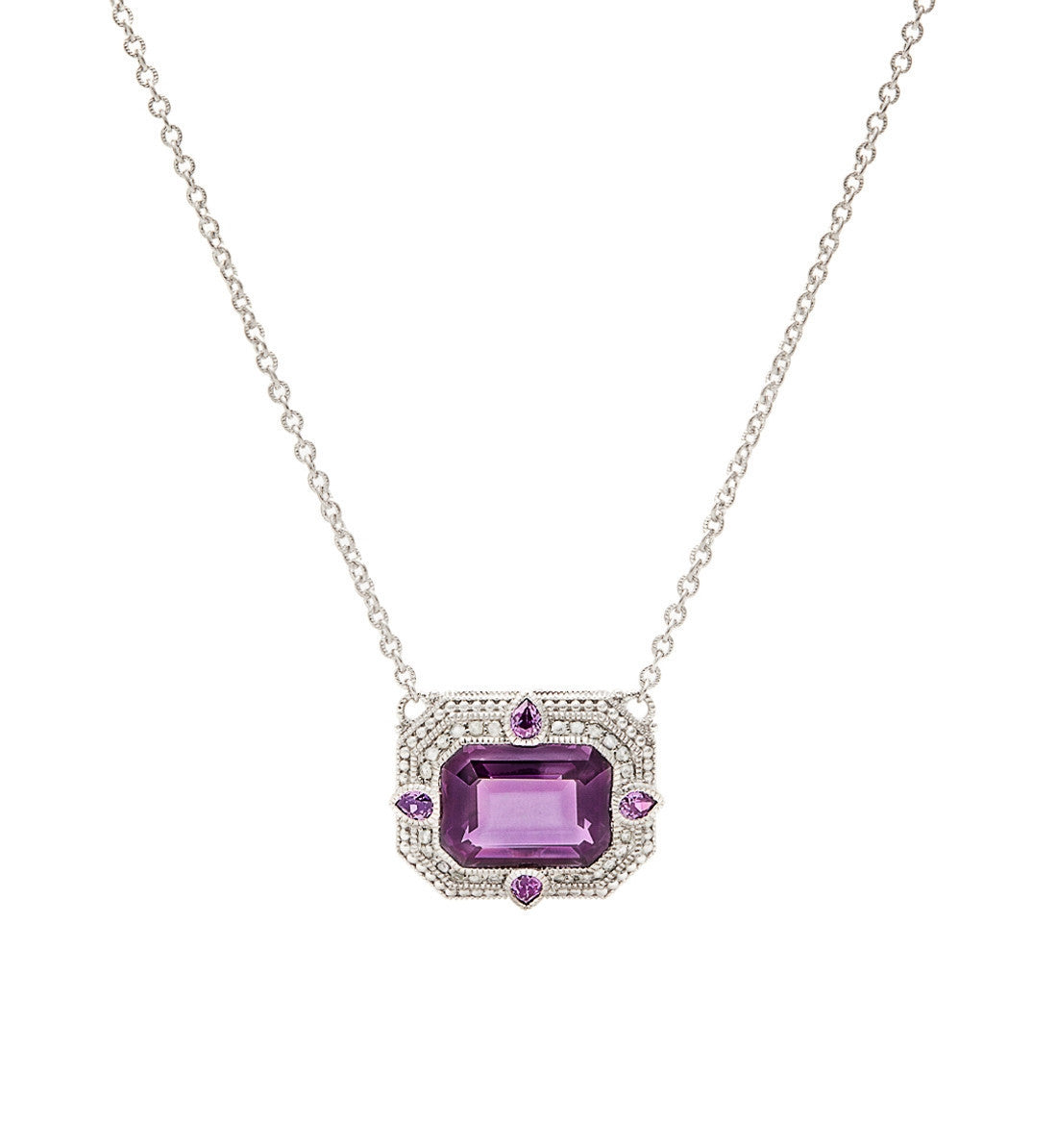 Aria Purple Crystal East West Pendant Necklace, , Necklace, judith ripka, D'Amore Jewelers  - 1