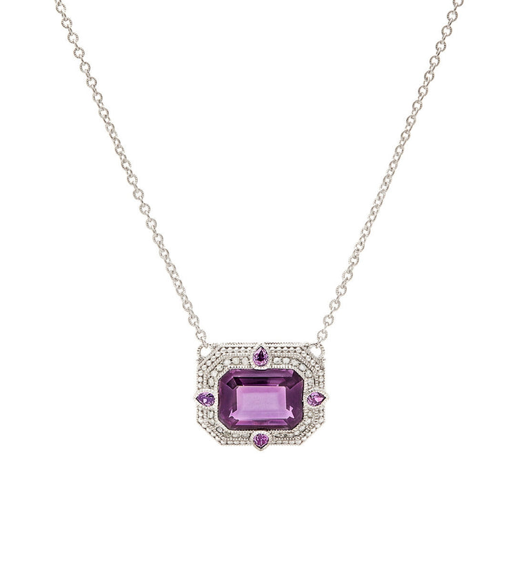 Aria Purple Crystal East West Pendant Necklace