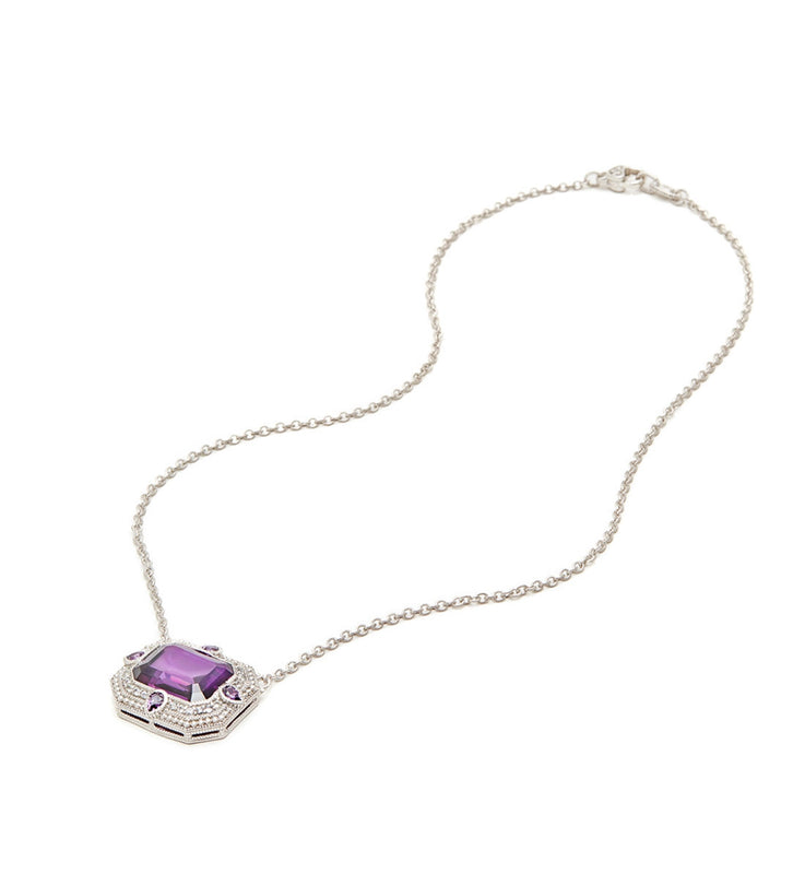 Aria Purple Crystal East West Pendant Necklace, , Necklace, judith ripka, D'Amore Jewelers  - 2