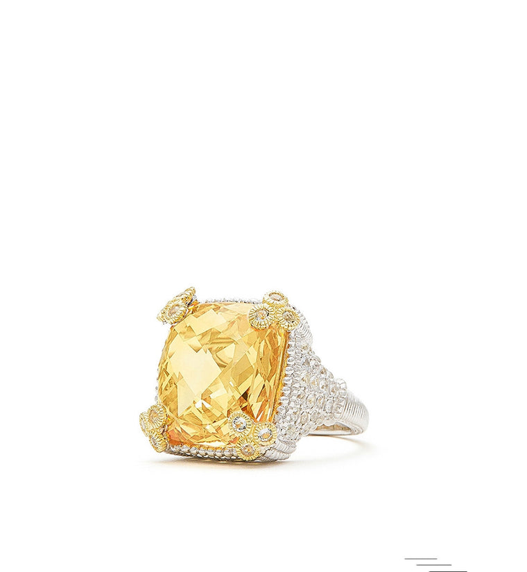 Ambrosia Small Canary Crystal Monaco Ring