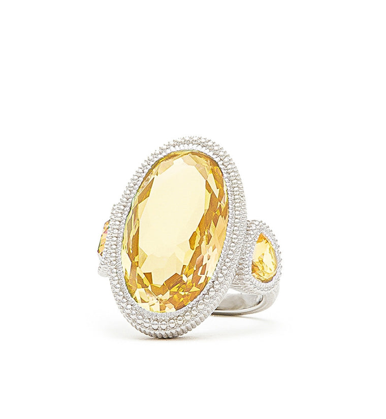 Margot Canary Crystal Large Oval Ring