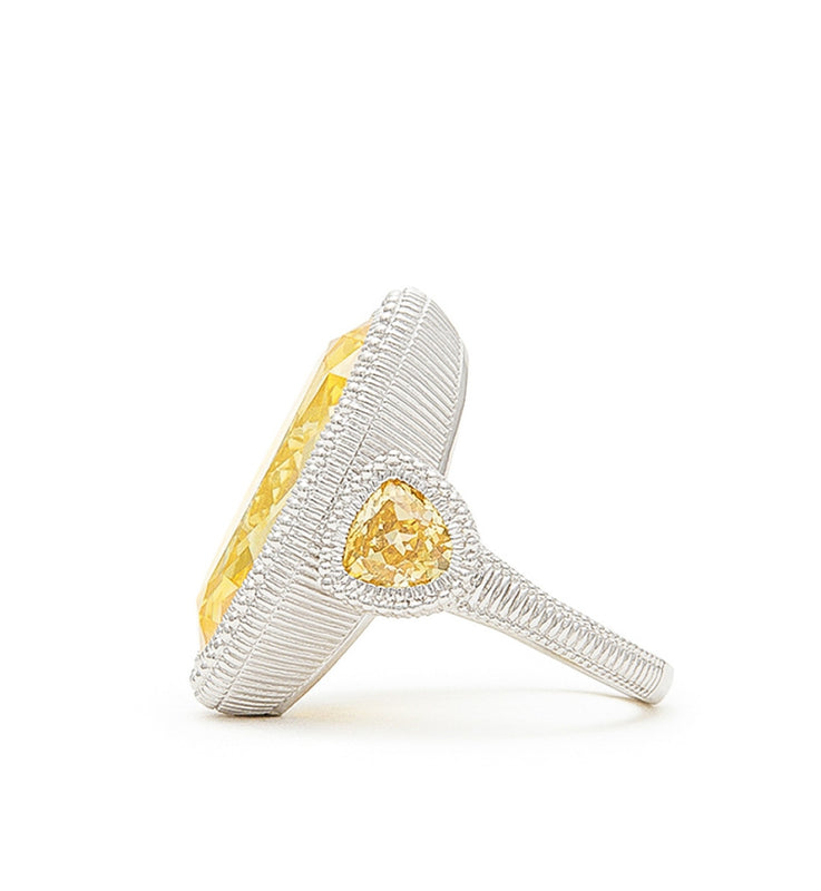 Margot Canary Crystal Large Oval Ring, , Ring, judith ripka, D'Amore Jewelers  - 2