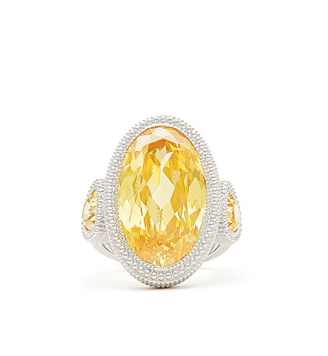 Margot Canary Crystal Large Oval Ring, , Ring, judith ripka, D'Amore Jewelers  - 3