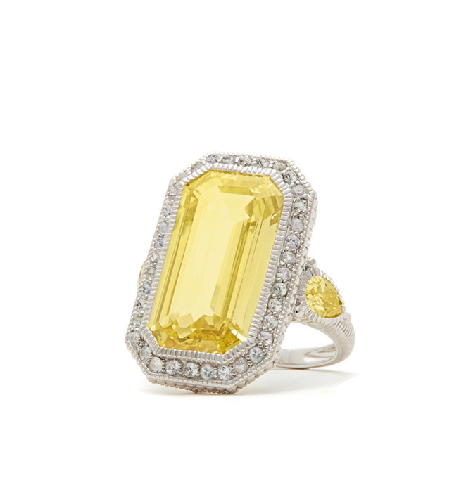 Aria Elongated Step Cut Canary Crystal Ring, , Ring, judith ripka, D'Amore Jewelers  - 1