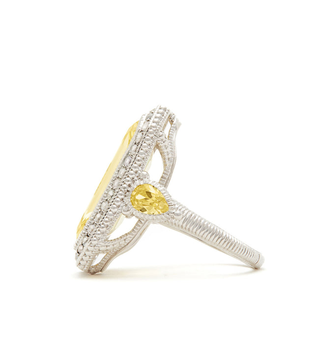 Aria Elongated Step Cut Canary Crystal Ring, , Ring, judith ripka, D'Amore Jewelers  - 2