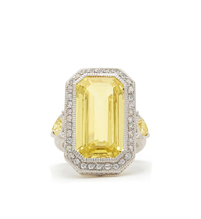 Aria Elongated Step Cut Canary Crystal Ring, , Ring, judith ripka, D'Amore Jewelers  - 3