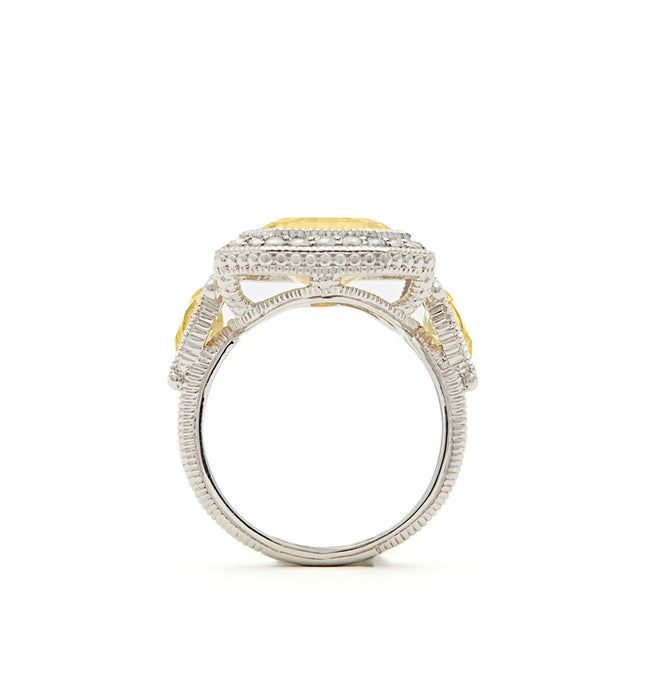 Aria Elongated Step Cut Canary Crystal Ring, , Ring, judith ripka, D'Amore Jewelers  - 4