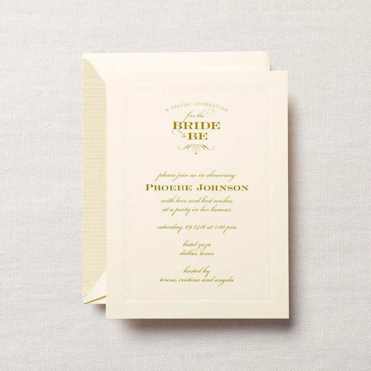 Personalized Shower Invitation with Embossed Frame