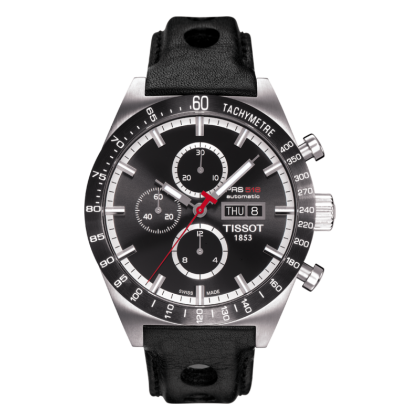 Tissot PRS 516 Automatic Chrono Men's Black Dial Watch with Black Leather Strap - Tissot -  Watches - Ora by D'Amore Jewelers