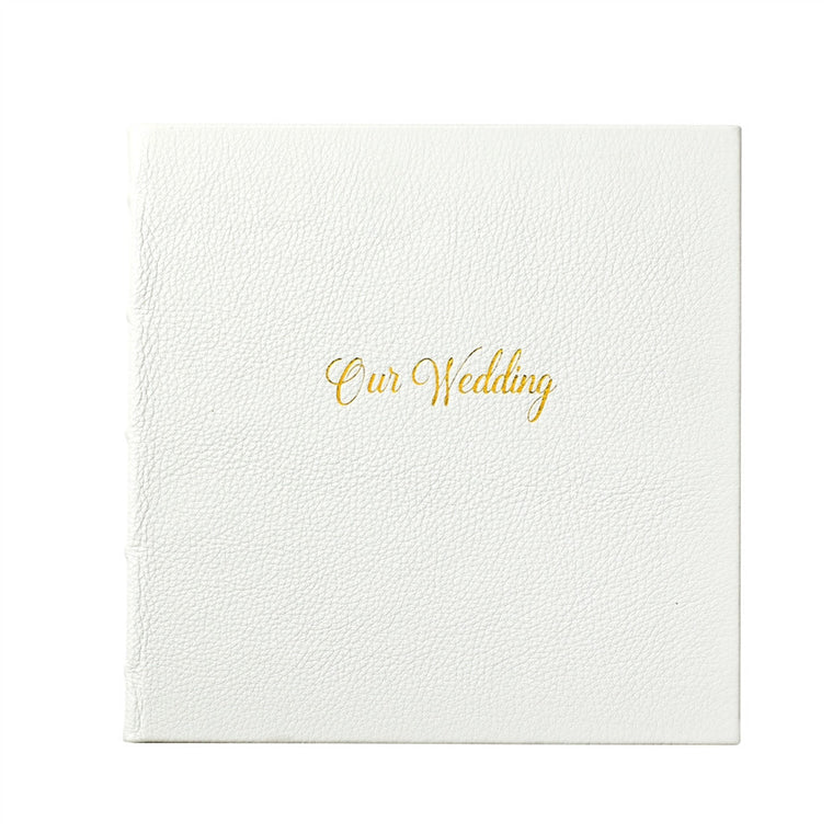 Wedding Journal -  White Full Grain Leather