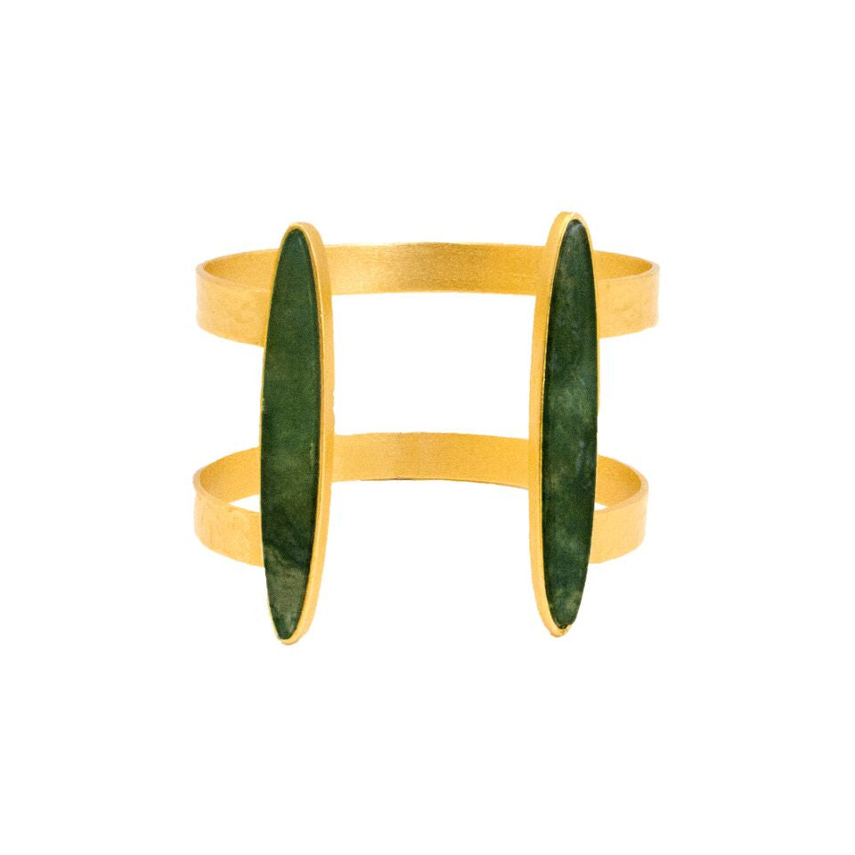 Duo Open Cuff Bracelet Green Agate, Bracelet, Stephanie Kantis - Ora by D'Amore Jewelers