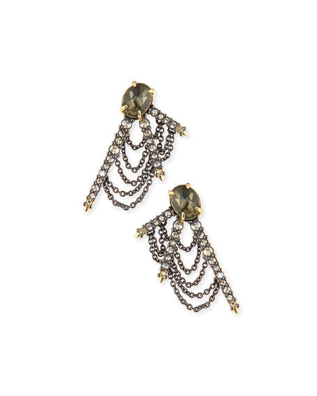 Draped Crystal Fringe Post Earrings