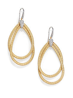 Cairo Diamond & 18K Yellow Gold Double Teardrop Earrings, Earring, Marco Bicego - Ora by D'Amore Jewelers