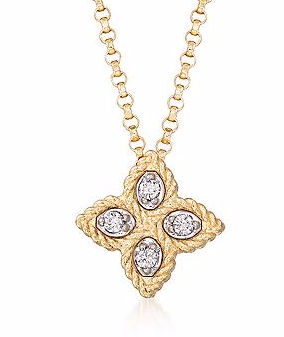 Princess Small Flower Pendant Necklace With Diamond Accents - Roberto Coin -  Necklace - Ora by D'Amore Jewelers