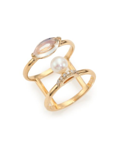 Olivia Akoya Pearl, Moonstone, Diamond Double-Band Ring