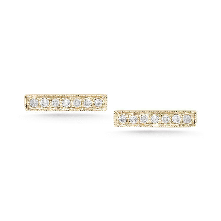SYLVIE ROSE DIAMOND BAR EARRINGS YELLOW GOLD, , Earring, Dana Rebecca Designs, D'Amore Jewelers