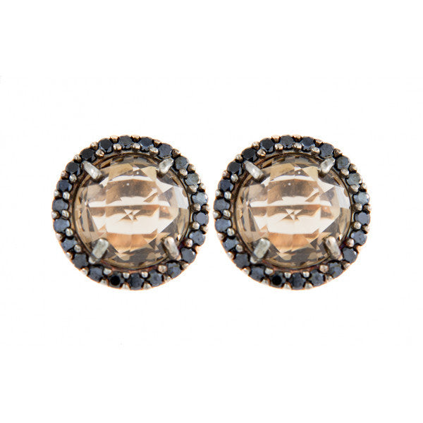 Faceted Stone Earrings with Crystal Frame - Bronzallure -  Earring  - Ora by D'Amore Jewelers - 4