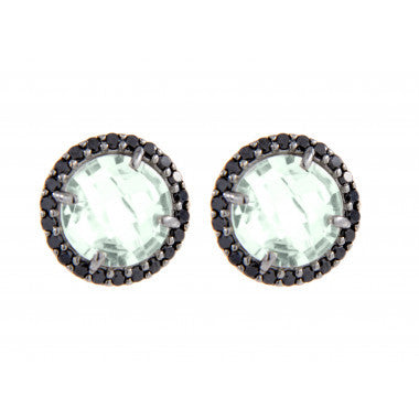 Faceted Stone Earrings with Crystal Frame - Bronzallure -  Earring  - Ora by D'Amore Jewelers - 3