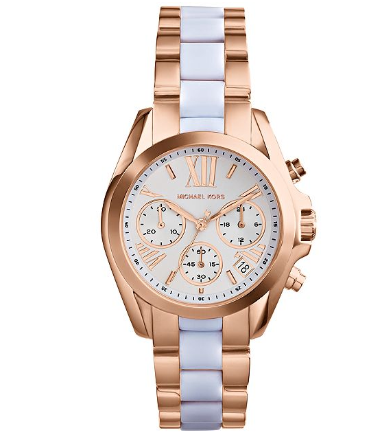 Michael Kors Women's Chronograph Mini Bradshaw White and Rose Gold-Tone Stainless Steel Bracelet Watch 36mm - michael kors -  Watches - Ora by D'Amore Jewelers