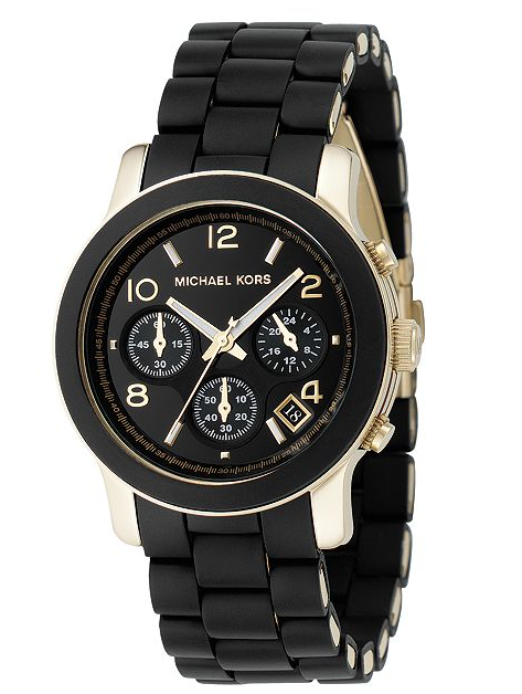Michael Kors Women's Chronograph Runway Gold-Tone Stainless Steel and Black Polyurethane Bracelet Watch 38mm - michael kors -  Watches - Ora by D'Amore Jewelers