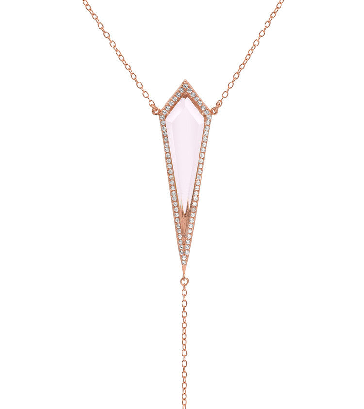 Crystal Lariat - Rose Gold