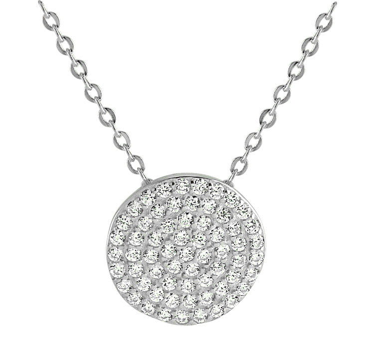 Micro Pave Disc Necklace - Silver