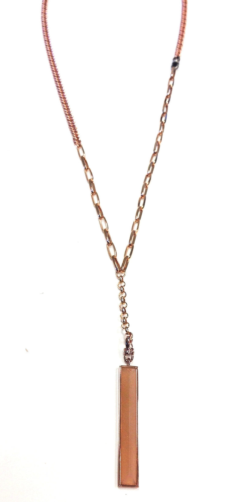 Rose Gold Crystal Pyramid Necklace