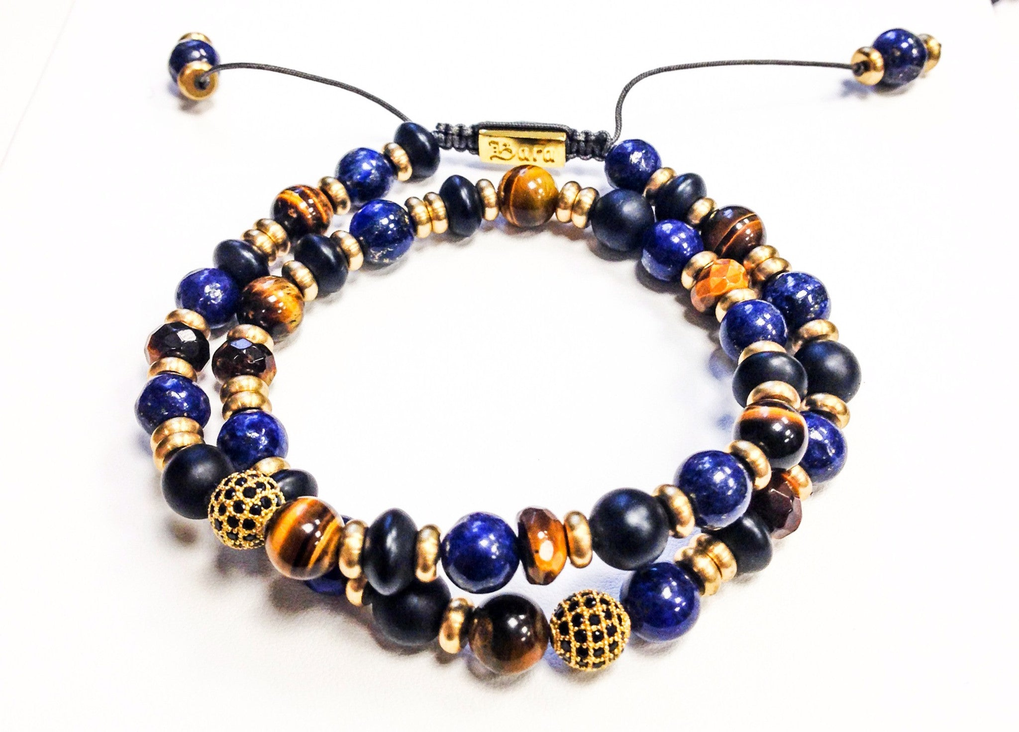 Lapis, Brass, and Tiger's Eye Wrap, Bracelet, Bara - Ora by D'Amore Jewelers