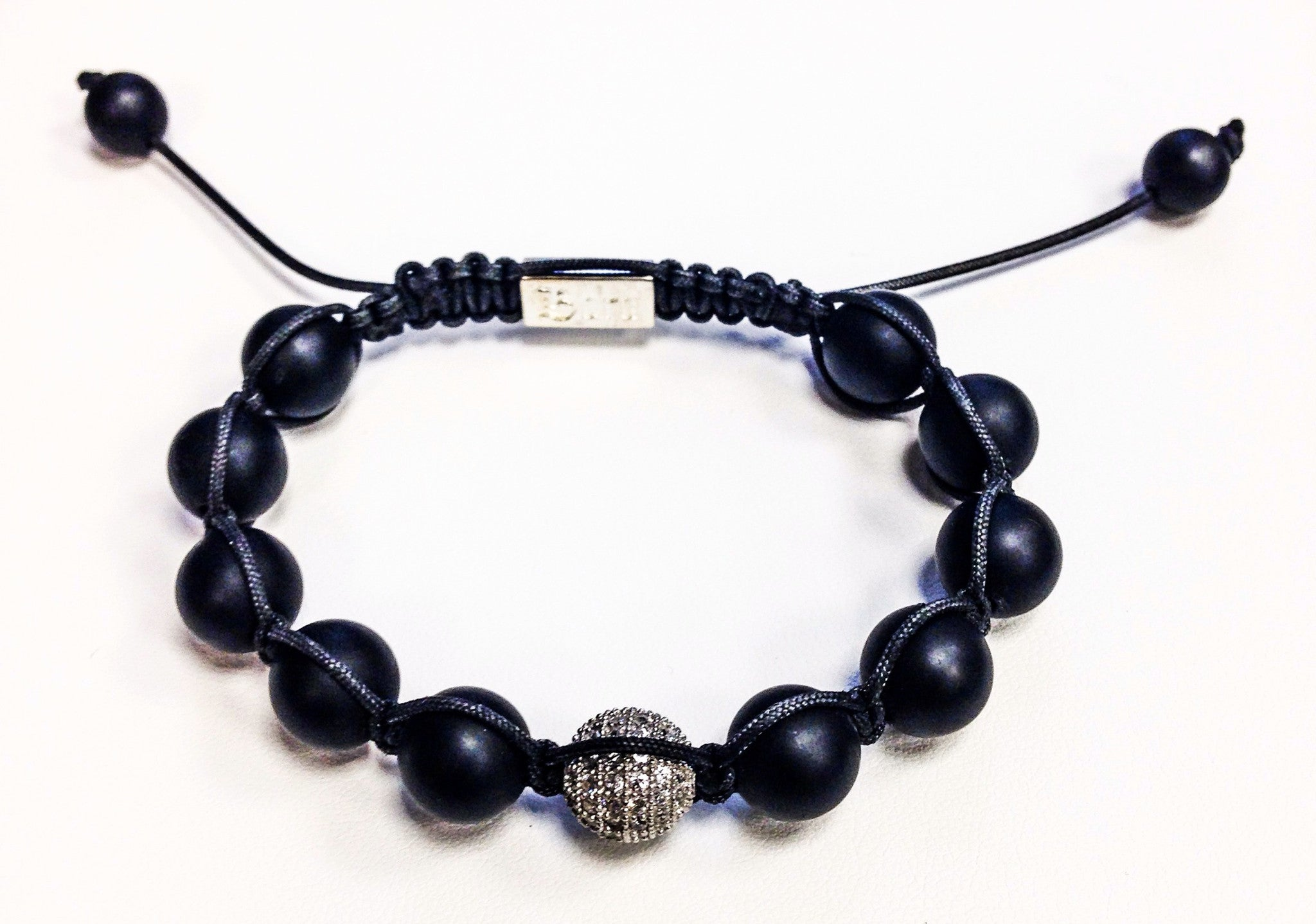 Woven Onyx and White CZ - Bara -  Bracelet - Ora by D'Amore Jewelers
