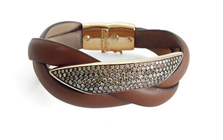 Brown Leather Twisted Pave Gold Bracelet, , Bracelet, Oromalia, D'Amore Jewelers