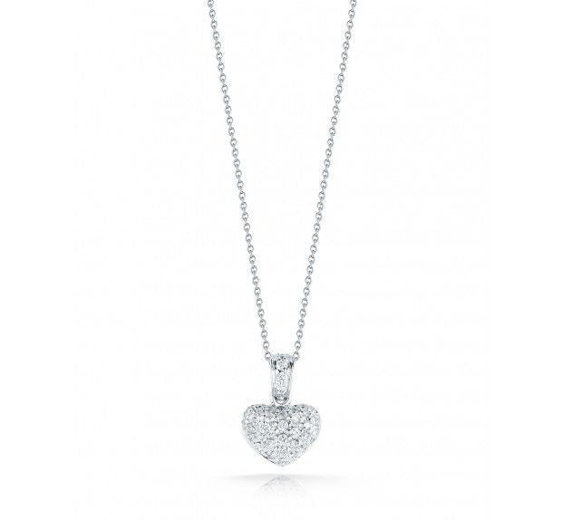 Diamond Puffed Heart Necklace, , Necklace, Roberto Coin, D'Amore Jewelers