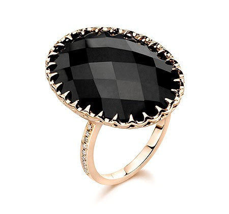 Cocktail Ring in Rose Gold with Black Onyx & Diamonds - Ivanka Trump -  Ring - Ora by D'Amore Jewelers