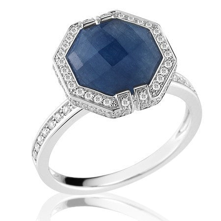 Patras Octagonal Blue Sapphire Ring - Ivanka Trump -  Ring - Ora by D'Amore Jewelers