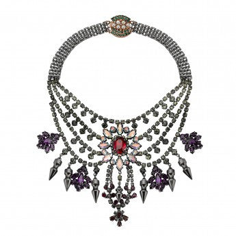 Tiered Crystal Necklace with Spikes - MAWI -  Necklace  - Ora by D'Amore Jewelers
