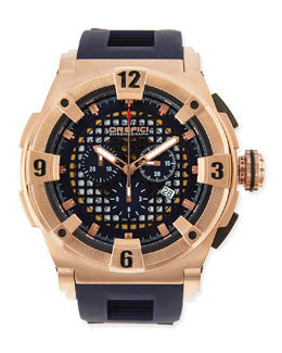 Regata Evolution Chronograph Watch, IP Rose Gold/Blue - Orefici -  Watches - Ora by D'Amore Jewelers