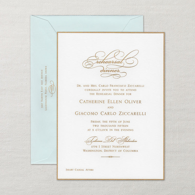Pearl White Rehearsal Dinner Invitation with Border