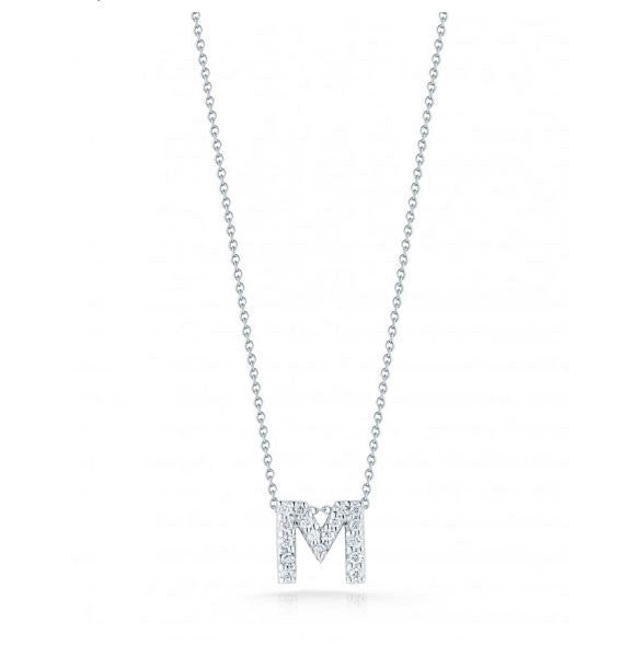 "Diamond Love Letter ""M"" Necklace, , Necklace, Roberto Coin, D'Amore Jewelers"